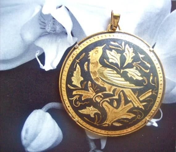 Damascene Jewelry Pendant with a Prong Setting Bird on Branch Swirling Leaves Necklace