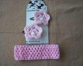 Light Pink Headband and CROCHET FLOWERS Hair Clips Set  Lot -003