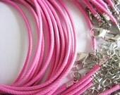 30pcs 1.5mm 16-18 inch adjustable hot pink korea wax string snake necklace cords