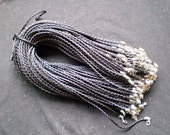 Wholesale 100pcs 16-18 inch adjustable 3mm black braided leather necklace cords with lobster clasps and extention chains