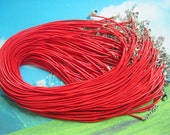 high quality15pcs 1.5mm 16-18 inch adjustable red korea wax string snake necklace cords with small finish and lobster clasps