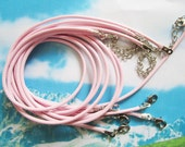 high recmmend 15pcs 16-18 inch 2mm light pink korea wax cotton SNAKE BONE necklace cords