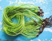 ANTIQUED COPPER finish--10pcs 18-20 inch adjustable oive green organza ribbon necklace cords