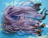 ANTIQUED COPPER finish--10pcs 18-20 inch adjustable lavender organza ribbon necklace cords