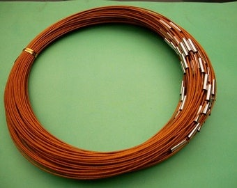 NEW NEW NEW 5pcs 18 inch 1mm brown stainless steel necklace cords/wires with stainless steel magnet clasps