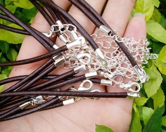 15pcs 16-18 inch adjustable 2.0mm brown genuine leather necklace cords with SILVER PLATED lobster clasps,very small ends