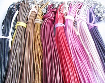 50pcs 16-18 inch adjustable 1.5mm 21 colors for your choose korea wax leather necklace cords with small finish
