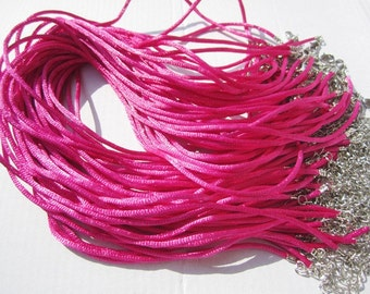 50pcs 16-18 inch adjustable 2mm hot pink satin necklace cords with silver small finish and lobster clasps