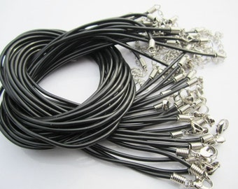 200 pieces 2mm 18-20 inch adjustable  black rubber neclace cords