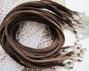 30pcs 3mm 16-18 inch adjustable brown suede leather necklace cords