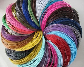 get sample 26pcs assorted(26 different colors)18 inch 1mm stainless steel necklace wire with stainless screw clasps