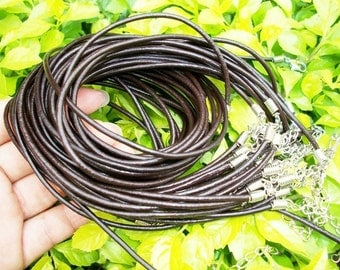 15pcs 16-18 inch adjustable 2.5mm brown GENUINE leather necklace cords/lobster clasps