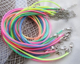 new 100 pieces 16-18 inch 2mm rainbow satin ratail necklace cords with very small finish