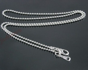 20pcs 16 inch 1.5mm bright silver ball necklace chain with lobster clasps,very small end