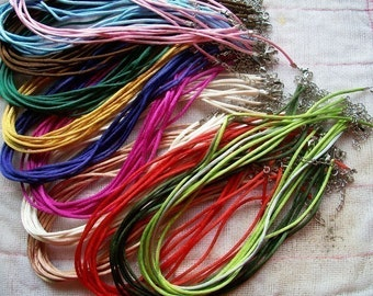 good quality small closure 50pcs 16-18 inch adjustable 2mm assorted(more than 40 colors for your choose) satin rat tail necklace cords