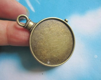 New come--5pcs 29.5mm(inner size:26.7mm) antiqued bronze round picture/photo frame clock charms/pendants
