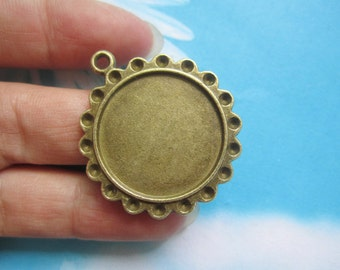 New come--5pcs 29.5mm antiqued bronze round picture/photo frame charms/pendants---crystal setting
