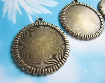 5 pcs 40.5mm antiqued bronze round cameo/cabochon base setting pendant