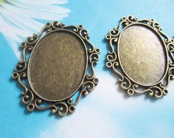 New come--5pcs 40x35mm antiqued bronze filigree oval bezel trays charms---good quality