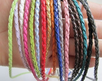 100pcs 16-18 inch adjustable assorted(25 colors for your choose)3mm braided fraux leather necklace cords with white k lobster clasps