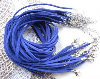 15pcs 16-18 inch adjustable 3mm royal blue flat suede leather necklace cords