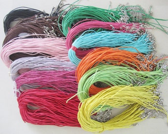 Long size--20pcs 1.5mm 22-24 inch adjustable assorted( 20 colors for your choose) waxed cotton necklace cords with lobster clasp