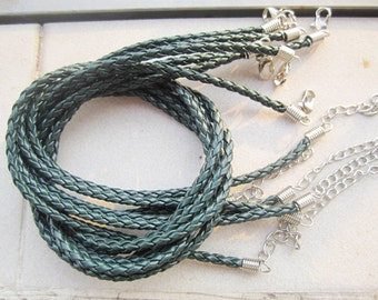 15pcs 16-18 inch adjustable 3mm dark green braided leather necklace cords with lobster clasps and extention chains