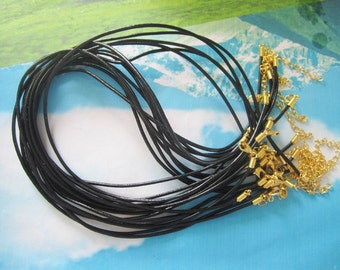 high quality15pcs 16-18 inch adjustable 2mm black genuine leather necklace cords with GOLD PLATED lobster clasps
