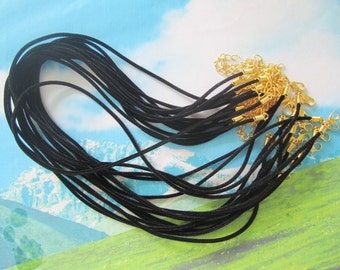 high quality 100pcs 16-18 inch adjustable 2mm black velvet necklace cords with GOLD PLATED lobster clasps