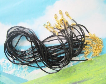 high quality 15pcs 16-18 inch adjustable 2mm black satin necklace cords with GOLD PLATED lobster clasps