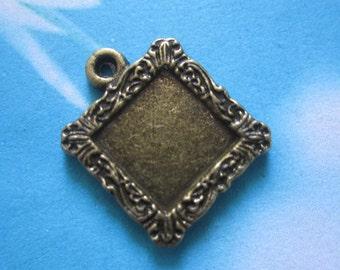 NEW COME 10 pcs 19mm antiqued bronze Square cameo/cabochon base setting pendant