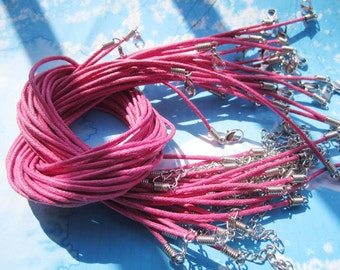 wholesale 50pcs 1.5mm 16-18 inch adjustable hot pink waxed cotton necklace cords with lobster clasp