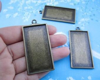 NEW come--2pcs 49x27mm antiqued bronze rectangle picture/photo frams charms/pendants--heavy size
