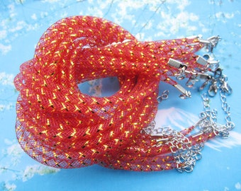 NEW NEW NEW 10pcs 16-18 inch 4mm red nylon necklace cords--elastic,strong