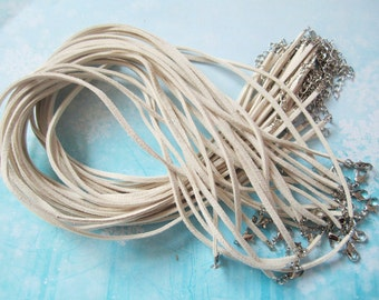 15pcs 16-18 inch adjustable 3mm cream flat suede leather necklace cords