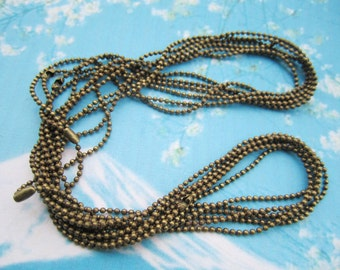 12pcs very tiny 16 inch 1.5mm antiqued bronze ball necklace chains with matching connectors