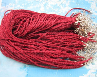 new small ends 10pcs 17-19 inch 3mm maroon braided silk necklace cords