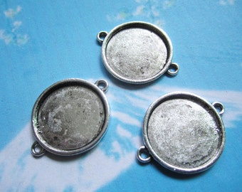 NEW come 100pcs 23mm tibetan silver round picture/photo frame/bezel trays charms connector--perfect for making bracelet,anklet and necklace