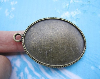 NEW COME 4 pcs 48x33mm antiqued bronze oval cameo/cabochon base setting pendant