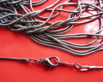10pcs 16 inch 1.0mm gunmetal snake necklace chain with lobster clasps,very small end