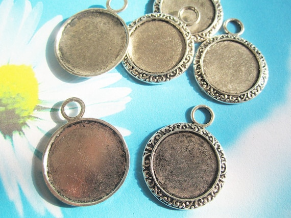 NEW style --both sided with different size--100 pcs  tibetan silver round cameo/cabochon base setting pendant
