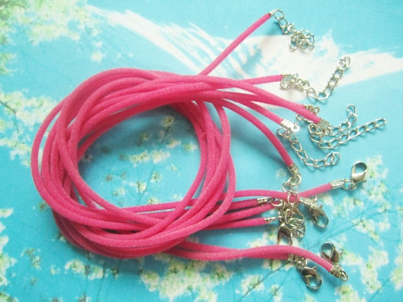 new 15pcs 16-18 inch adjustable 2mm hot pink velvet necklace cords---small crimp finish
