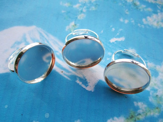 NEW COME 5pcs 18mm adjustable bright silver circle(20mm) picture/photo frames ring blanks