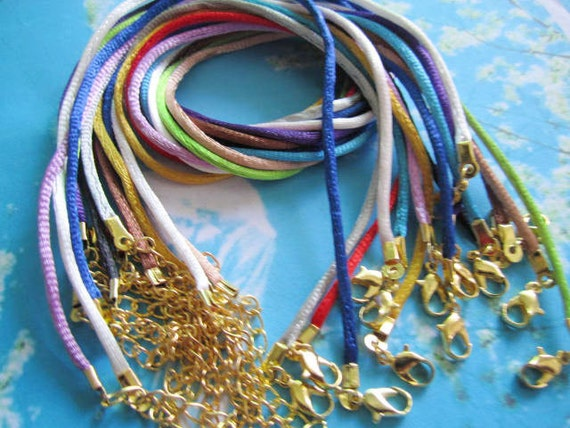 GOLD PLATED small FINISH--15pcs sample(15 colors)16-18 inch adjustable 2mm satin rat tail necklace cords
