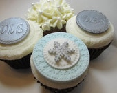Snowflake Cupcake Toppers, Fondant Cupcake Toppers, Edible Cupcake Decorations, Winter Themed Decorations, Edible Snowflakes