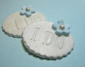 Fondant Cupcake Topper - I DO - Cake Topper Bridal shower, weddings, engagement party