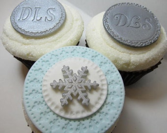 Winter Wedding Cupcake Topper Package - Edible Pearls - Monograms - Snowflakes