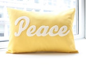Peace Pillow in Yellow