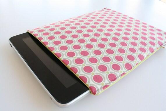 Mother's Day Gift - Fuchsia Dot iPad Sleeve - READY TO SHIP
