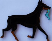 Doberman Pin, Magnet or Ornament -Color Choice -Free Shipping -Cropped or Uncropped Ear - Hand Painted